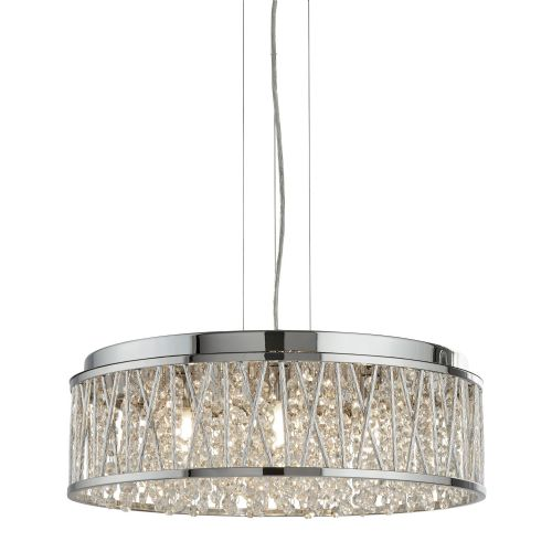 Elise 7 Light Ceiling Flush/Pendant, Chrome, Clear Crystal Drops, Aluminium Tubes Trim 8337-7Cc